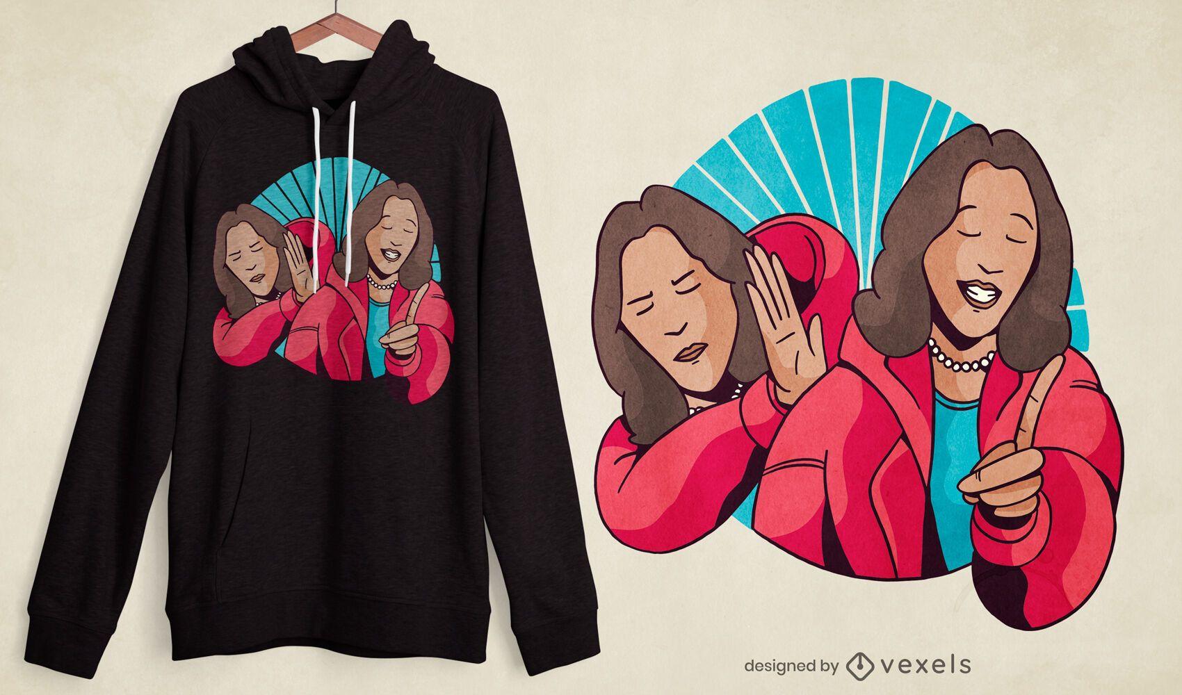 Diseño de camiseta kamala harris meme