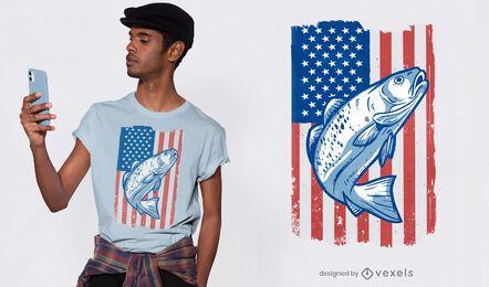 Diseño de camiseta de bandera de peces de estados unidos