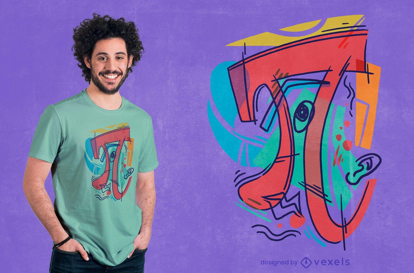 Design de camiseta com símbolo do pi cubista