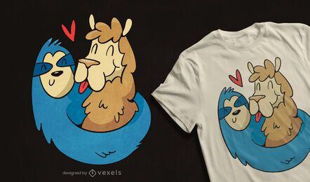 Diseño de camiseta de perezoso de alpaca.