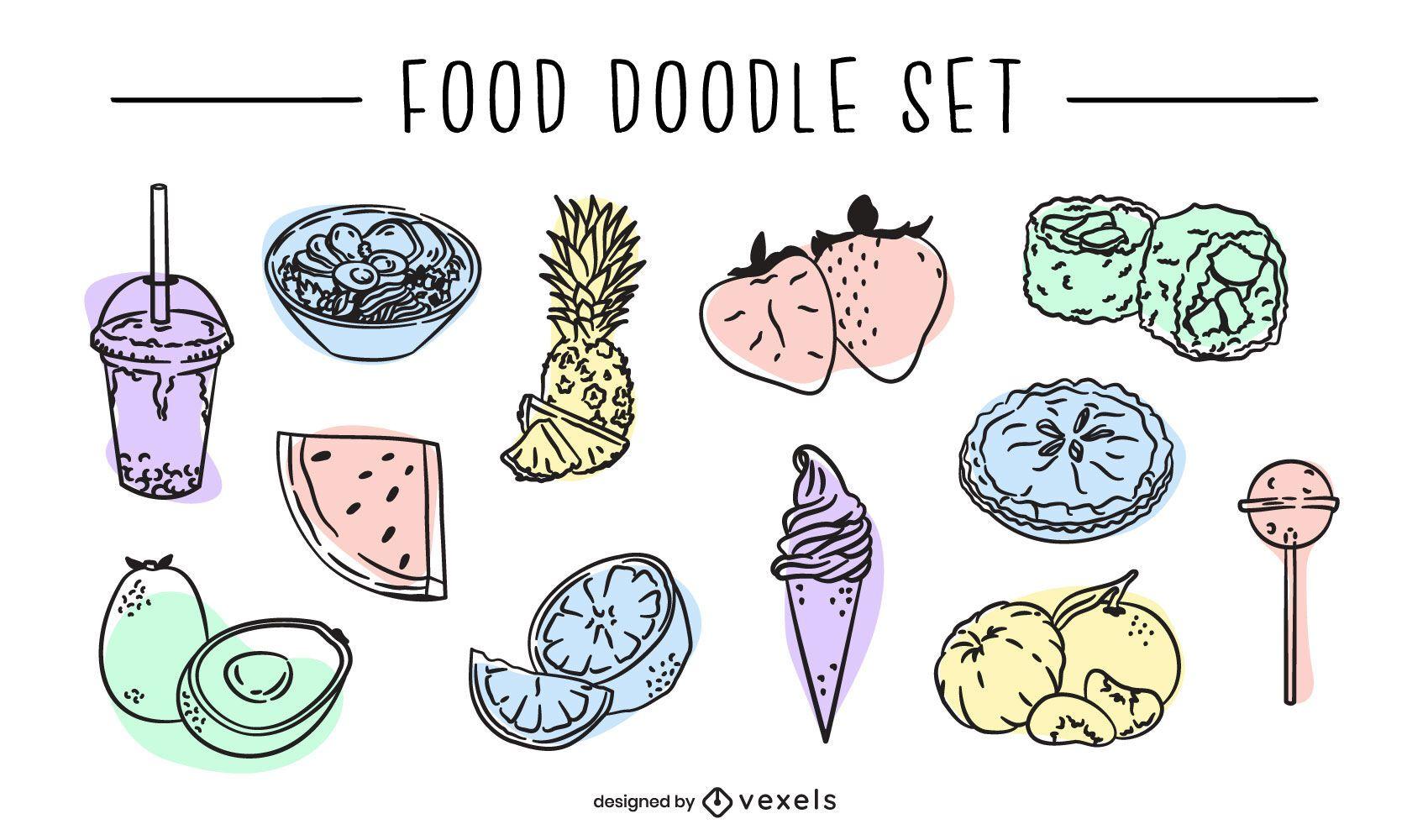 Conjunto de vector de doodle de comida