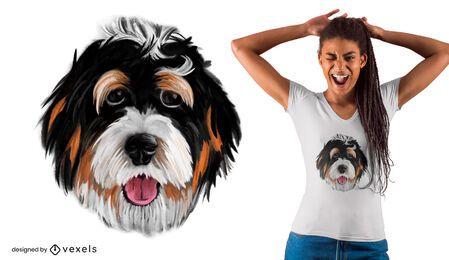 Diseño de camiseta realista con cara de perro.