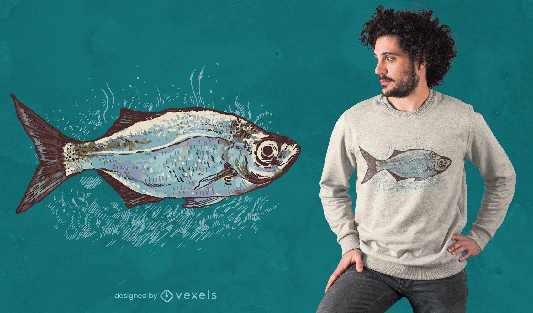 Desenho de t-shirt de peixe desenhado à mão
