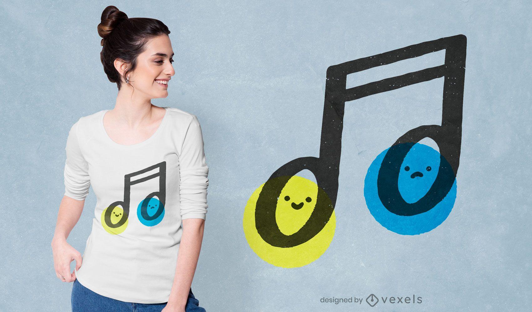 Diseño de camiseta de nota musical.