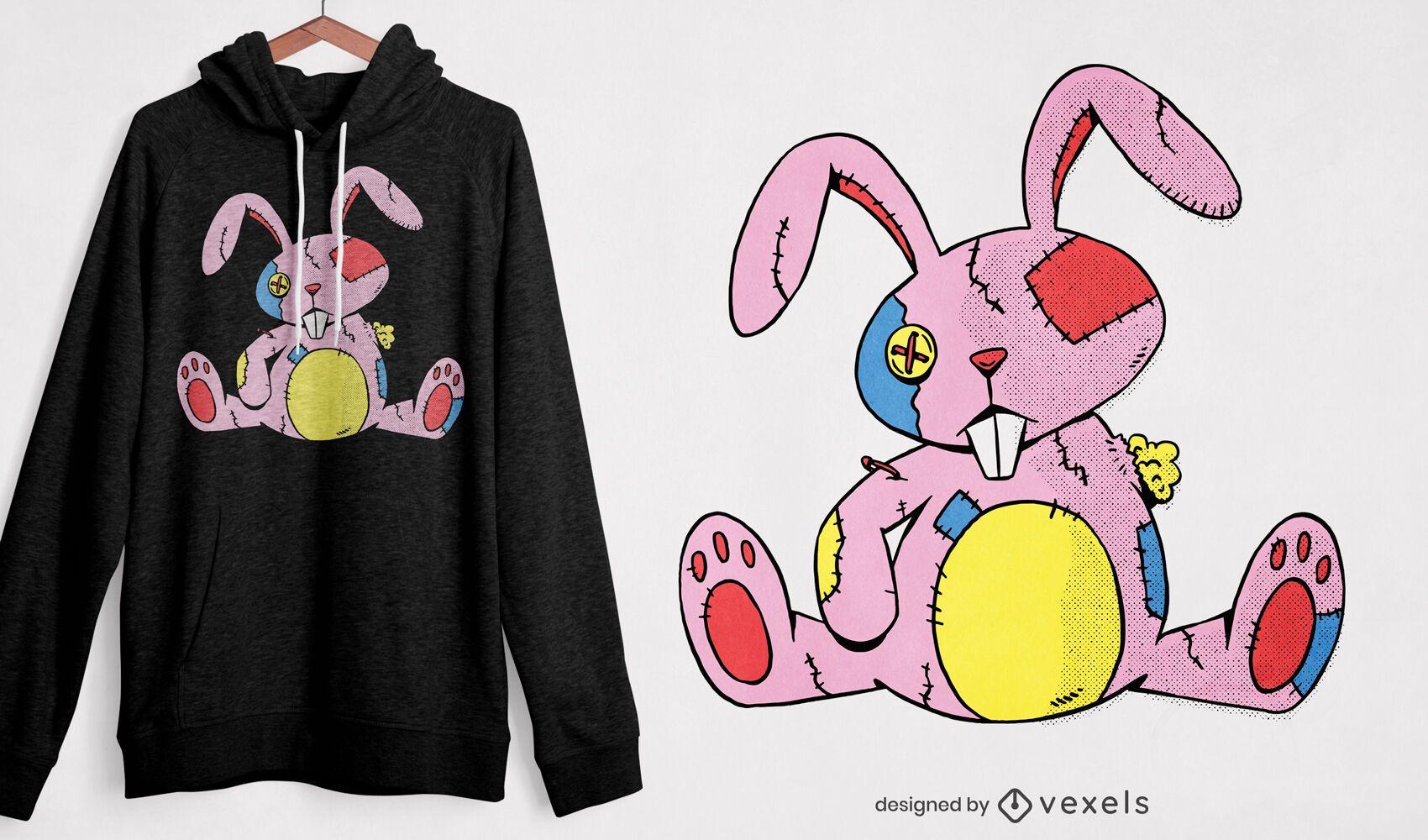 Diseño de camiseta de conejo de peluche viejo