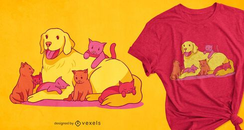 Diseño de camiseta de perros y gatitos.