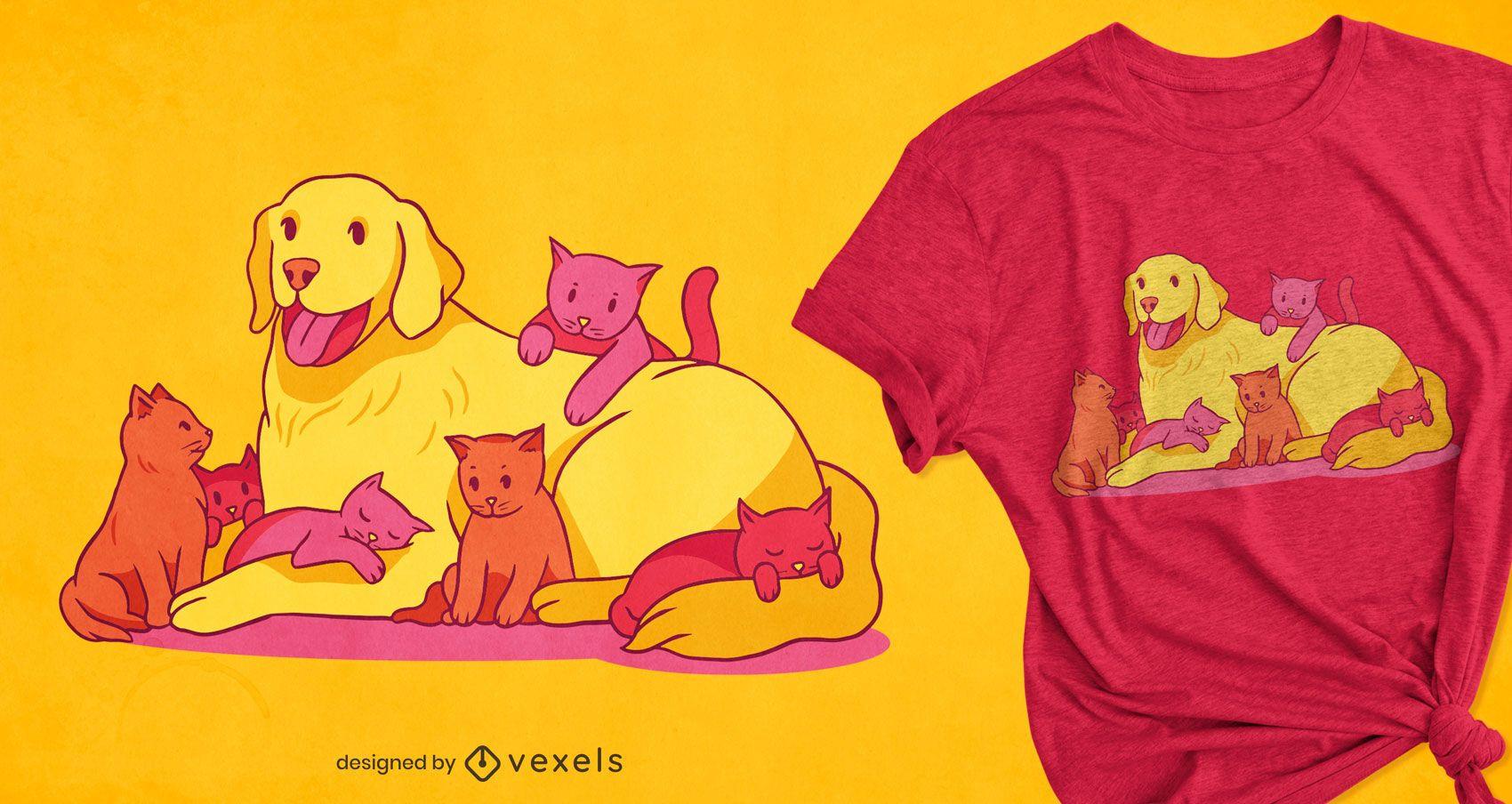 Hund und Kätzchen T-Shirt Design