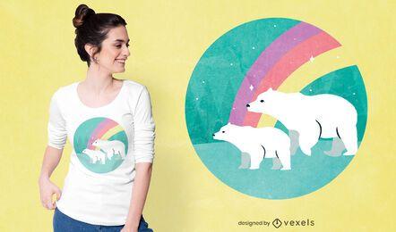 Diseño de camiseta de osos polares arcoiris