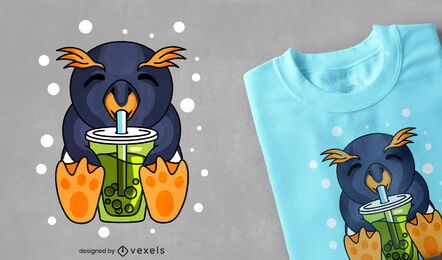 Design de camiseta pinguim boba