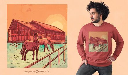 Diseño de camiseta de amanecer estable