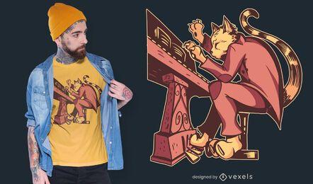 Design de t-shirt de gato de piano