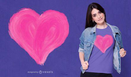 Diseño de camiseta de corazón pintado