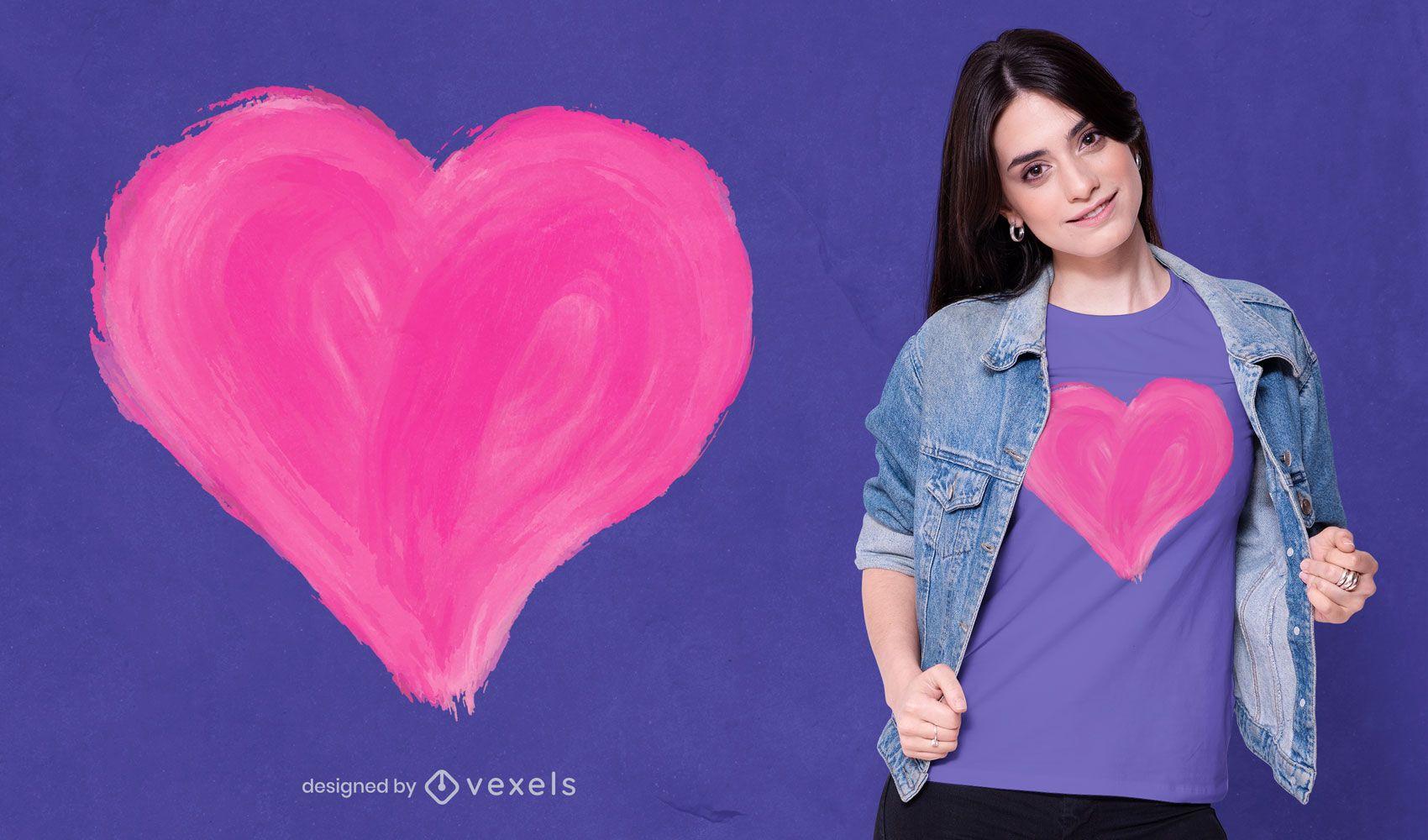 Design de camiseta com coração pintado