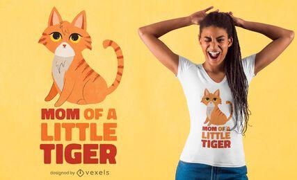 Diseño de camiseta de gato tigre pequeño