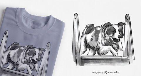 Diseño de camiseta de perro saltando obstáculo.