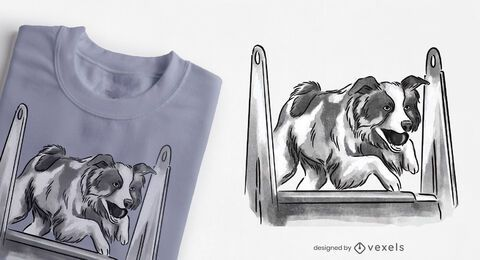 Dog jumping obstacle t-shirt design
