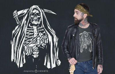 Diseño de camiseta esqueleto grim reaper