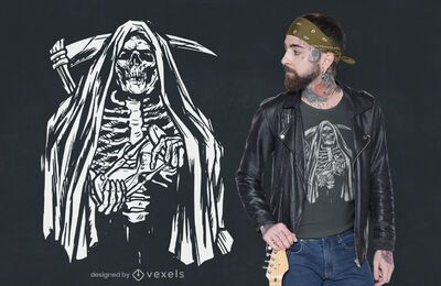 Skeleton Sensenmann T-Shirt Design