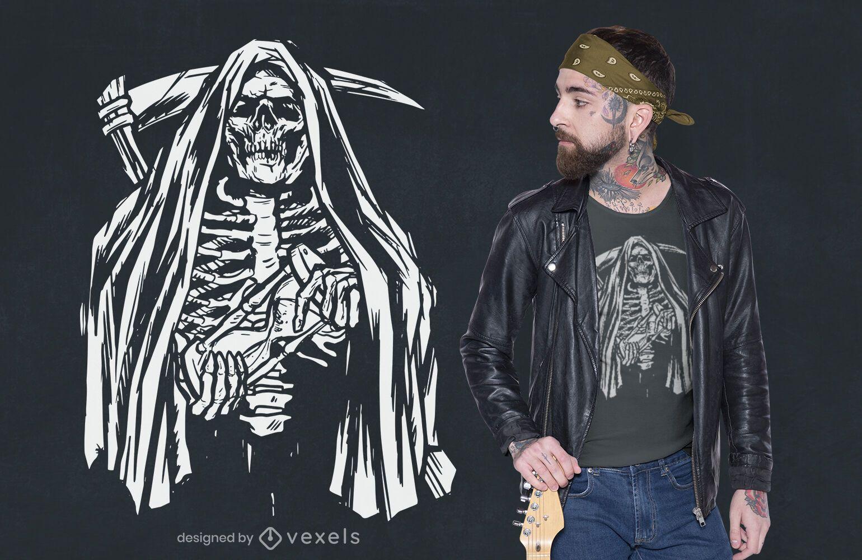 Dise?o de camiseta esqueleto grim reaper