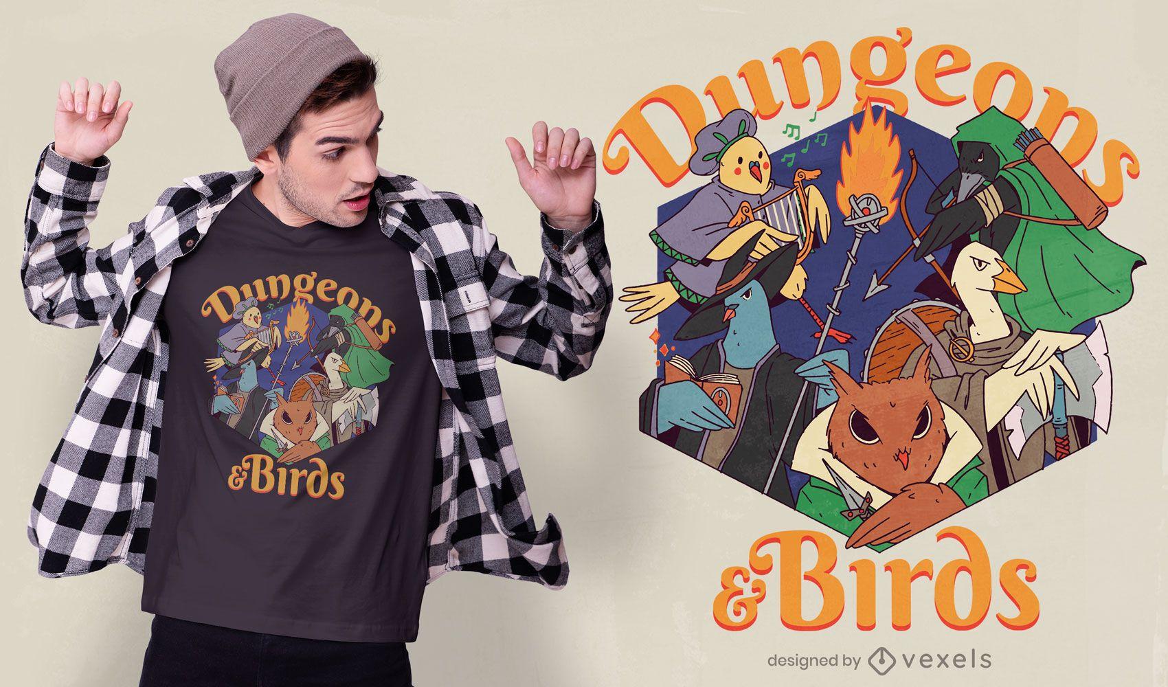 Diseño de camiseta de mazmorras y pájaros