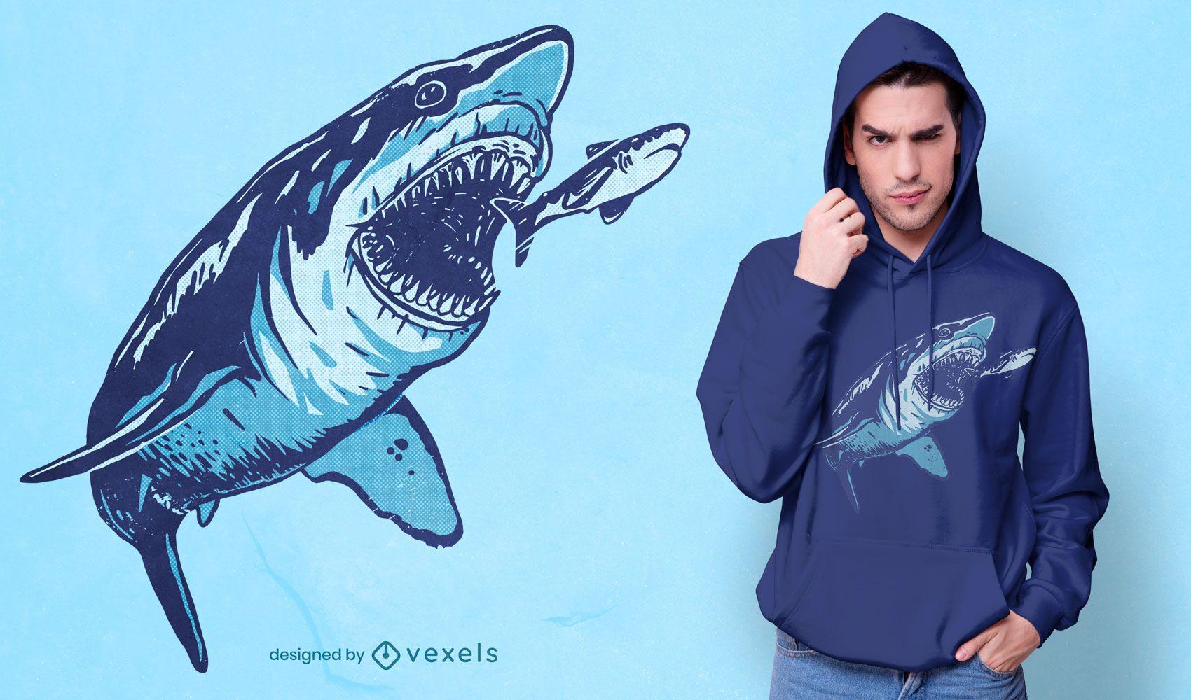 Diseño de camiseta de ataque de megalodon