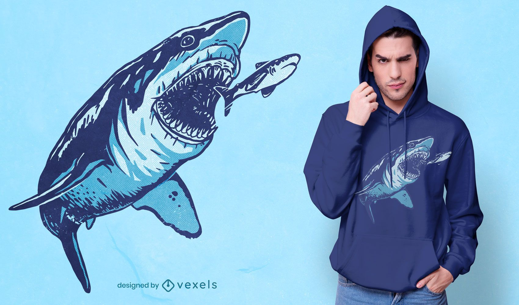 Megalodon attack t-shirt design