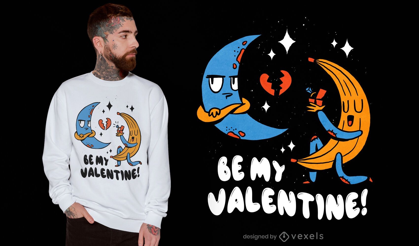 Design de t-shirt dos namorados lua banana