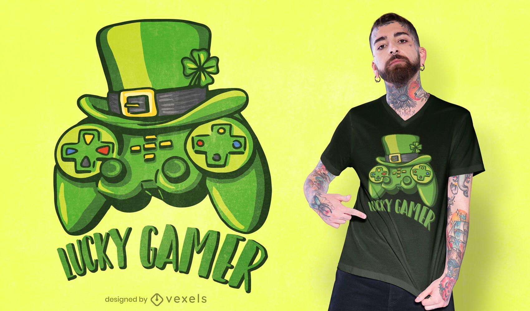 Design de camiseta para jogador sortudo