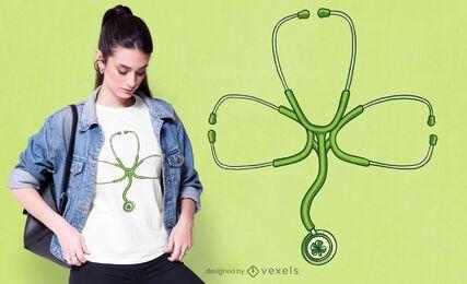 Diseño de camiseta de trébol de estetoscopio.