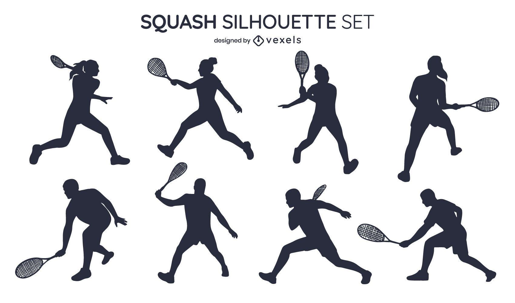 Conjunto de silhueta de squash