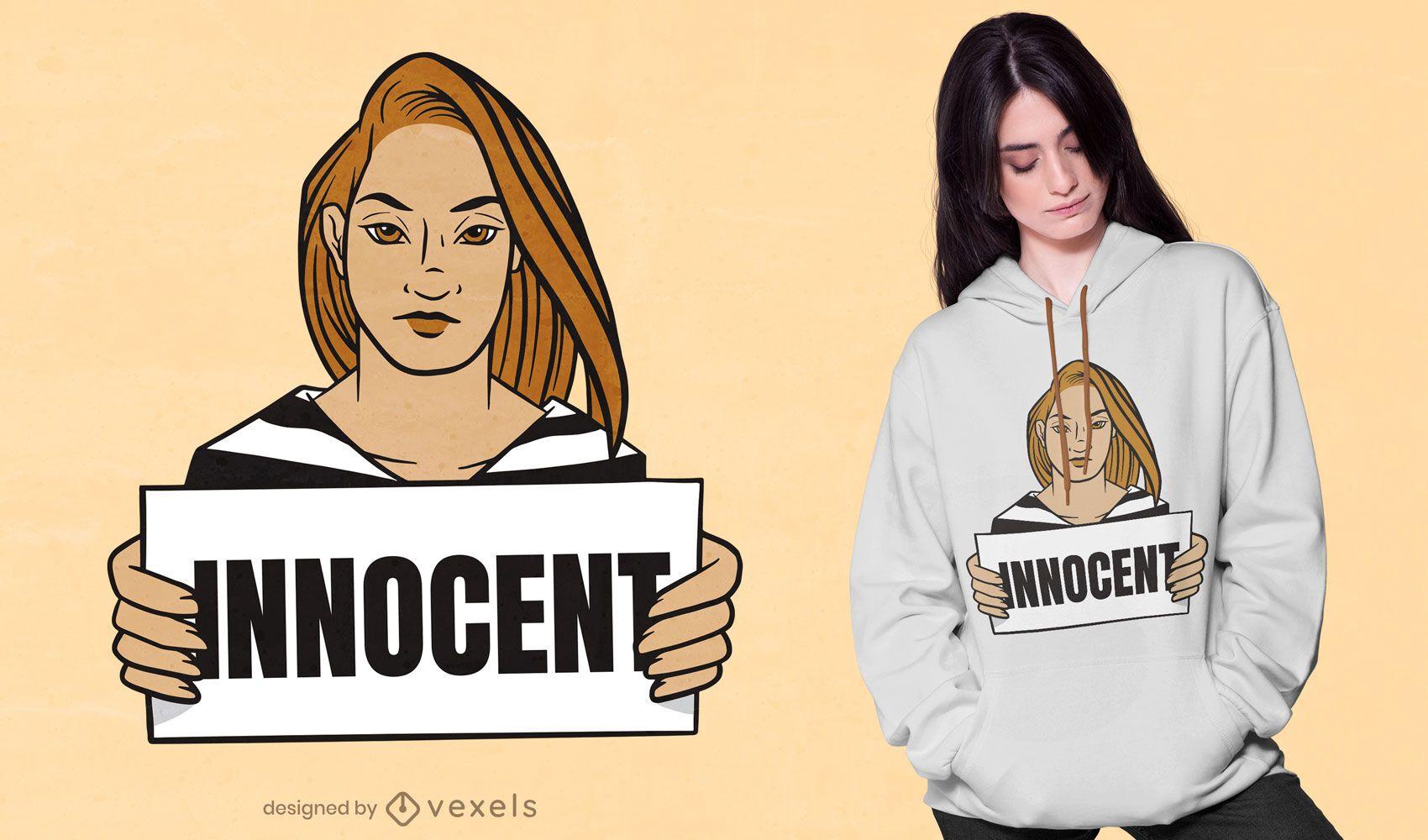 Design de camiseta de prisioneiro inocente
