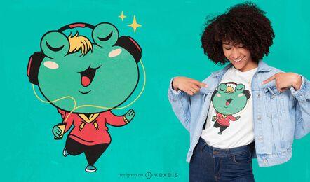 Diseño de camiseta de dibujos animados de rana