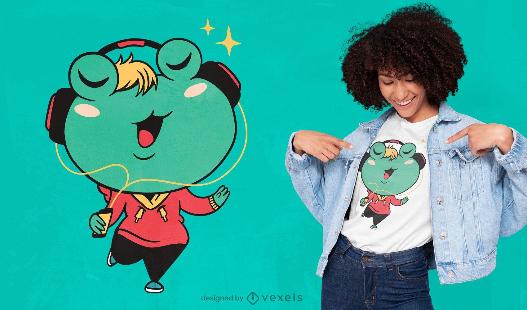Frog cartoon t-shirt design