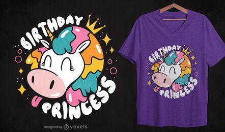 Diseño de camiseta de cumpleaños princesa unicornio.