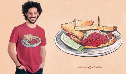 Diseño de camiseta de sándwich de carne en conserva