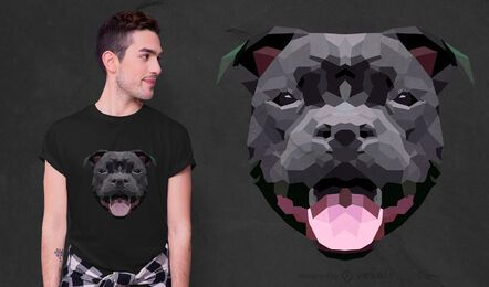 Low poly dog t-shirt design