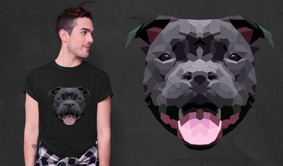 Diseño de camiseta de perro low poly