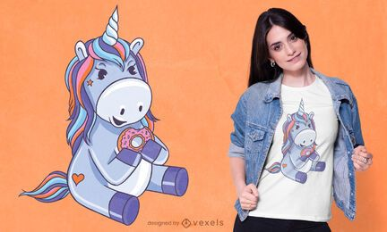 Diseño de camiseta de donut unicornio
