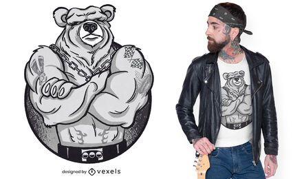 Diseño de camiseta de oso de músculos grandes