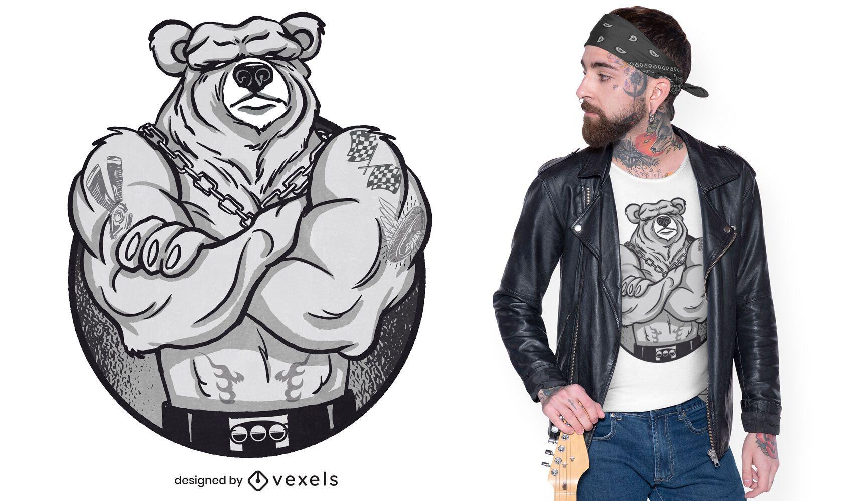 Big muscles bear t-shirt design