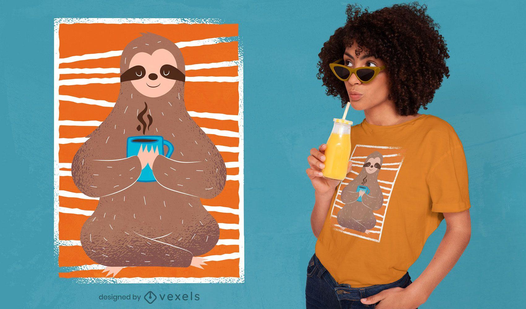 Diseño de camiseta de perezoso relajado.