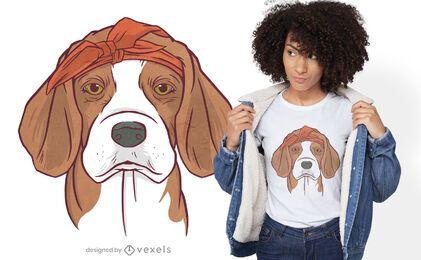 Cão com desenho de t-shirt bandana