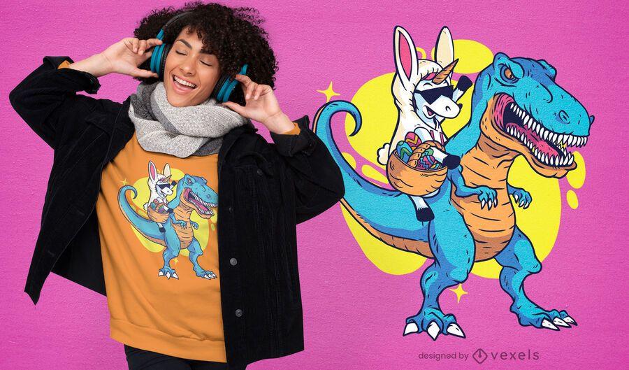 Unicorn riding t-rex t-shirt design