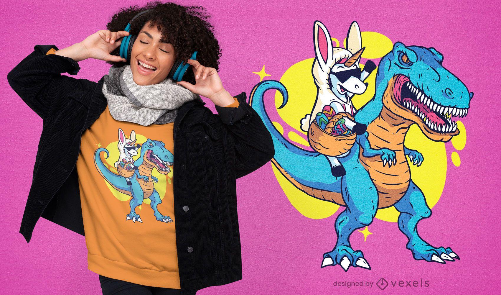 Diseño de camiseta unicornio montando t-rex
