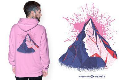 Design de camiseta com cara de montanha
