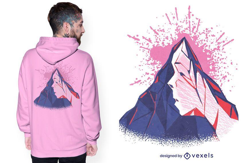 Diseño de camiseta con cara de montaña