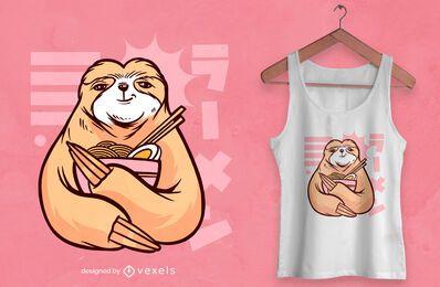 Pereza con diseño de camiseta ramen.