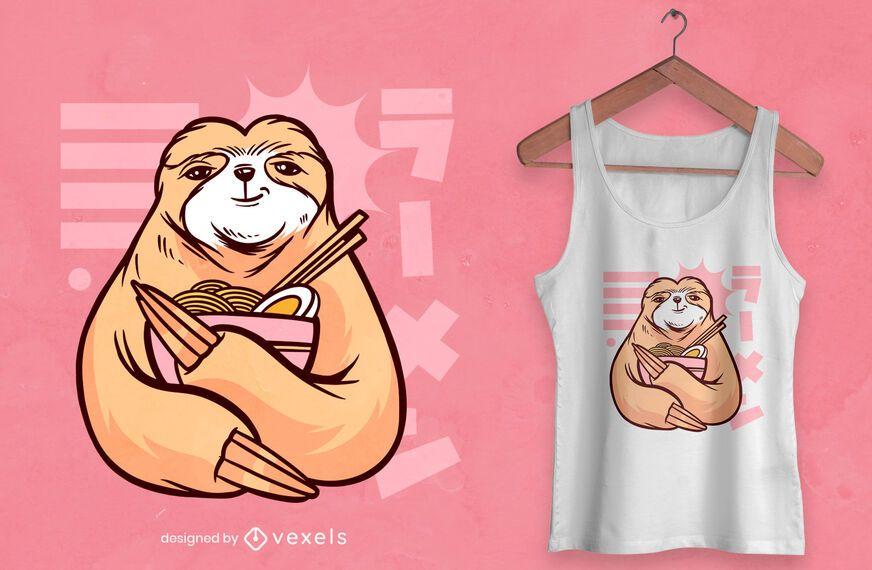 Faultier mit Ramen T-Shirt Design