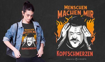 Design de camiseta com citação alemã irritada