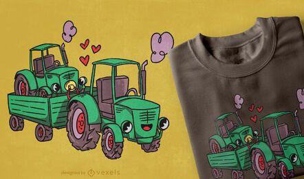 Diseño lindo de la camiseta de la familia del camión